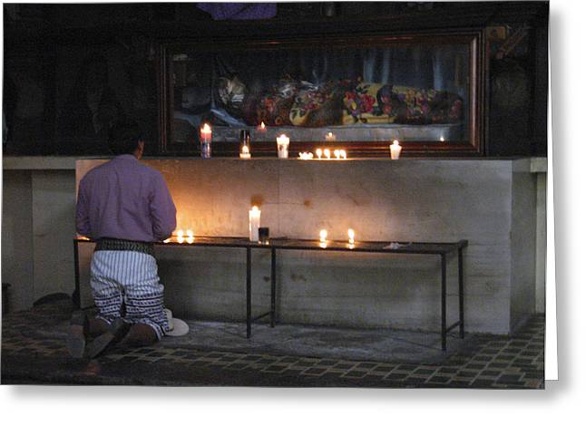 Churches Greeting Cards - Prayer Time Guatemala Greeting Card by Kurt Van Wagner