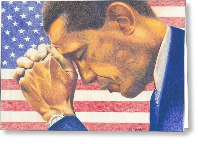 First Black President Greeting Cards - Prayerful President Greeting Card by Keith Burnette