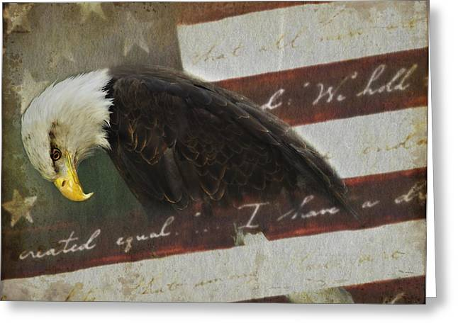 Praying For Our Country Greeting Card by Kathy Jennings