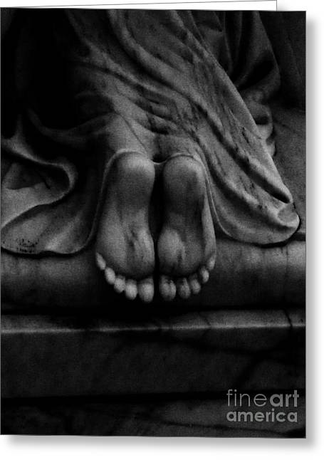 Little Sculptures Greeting Cards - Praying For You Black and White Greeting Card by Nathan Little