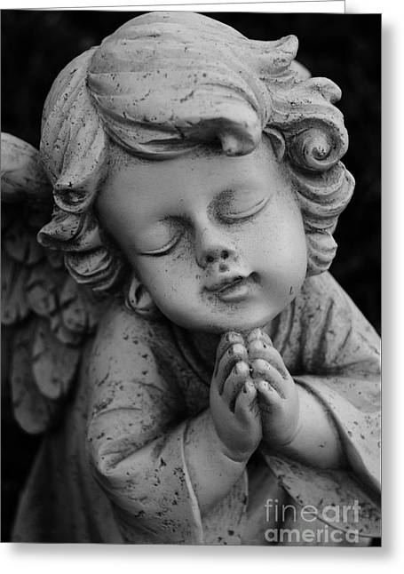 Little Sculptures Greeting Cards - Praying Girl Angel Greeting Card by Nathan Little