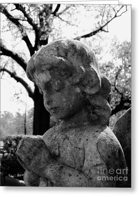 New Sculptures Greeting Cards - Praying Girl On Cold Winters Day Greeting Card by Nathan Little