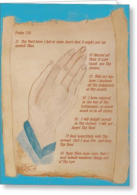 Praying Hands Greeting Cards - Praying Hands  Greeting Card by Rosie Foshee