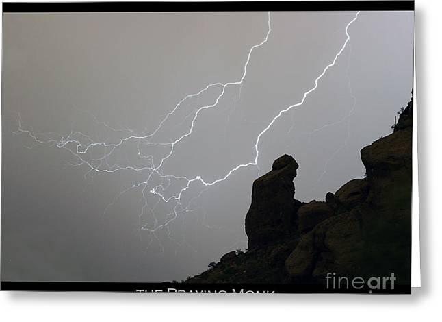 Praying Monk Lightning Striking Poster Print Greeting Card by James BO  Insogna
