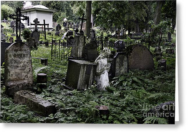 Lithuania Greeting Cards - Praying statue in the old cemetery Greeting Card by RicardMN Photography