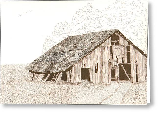 Best Sellers -  - Barn Pen And Ink Greeting Cards - Pre-Collapse Greeting Card by Pat Price