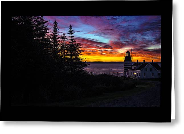 Coastal Maine Greeting Cards - Pre Dawn Light at West Quoddy Head Lighthouse Greeting Card by Marty Saccone