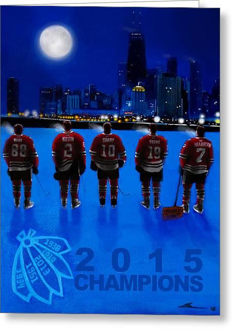 Hockey Paintings Greeting Cards - Pre-Dawn Skate Greeting Card by Gerard Garcia
