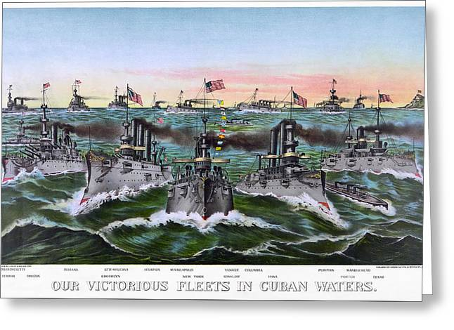 Dreadnought Greeting Cards - PRE-DREADNOUGHT BATTLESHIPS of the UNITED STATES 1896 Greeting Card by Daniel Hagerman