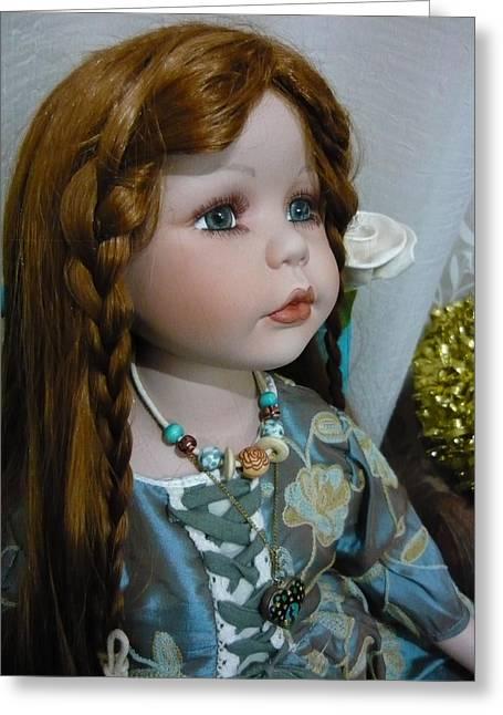 Pre-raphaelites Pyrography Greeting Cards - Pre Raphaelite Doll  Greeting Card by Adrianne Wood