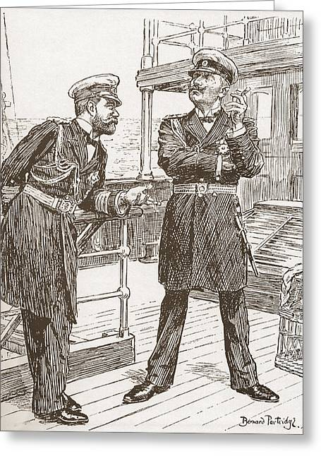 Expenditure Greeting Cards - Pre World War One Cartoon Entitled The Greeting Card by Ken Welsh