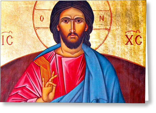 Jesus Christ Icon Greeting Cards - Preaching Greeting Card by Munir Alawi