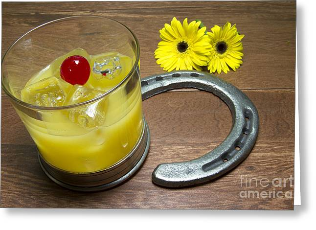 Preakness Stakes Greeting Cards - Preakness Stakes Black Eyed Susan with Horseshoes Greeting Card by Karen Foley