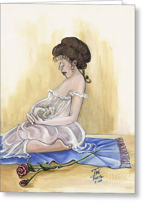 Pregnancy Paintings Greeting Cards - Precious Moments Greeting Card by Toni  Thorne