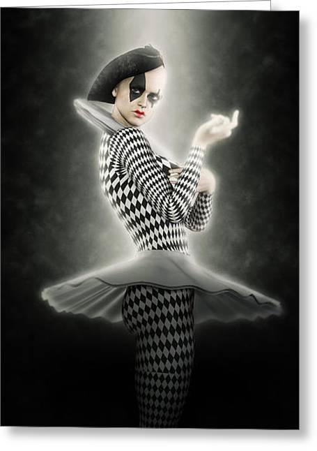 Precious Pierrette Of Light Greeting Card by Joaquin Abella