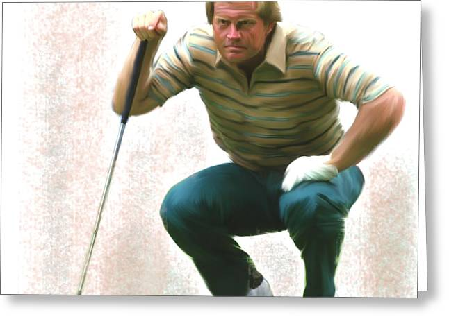 Precision Jack Nicklaus  Greeting Card by Iconic Images Art Gallery David Pucciarelli