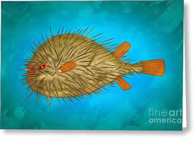 Best Ocean Photography Paintings Greeting Cards - Prehistoric fish ball Greeting Card by Sergey Lukashin