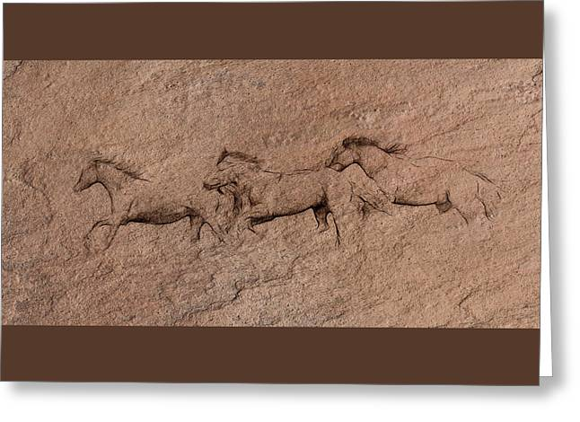 Caves Greeting Cards - Prehistoric Horse Art W2609 Greeting Card by Wes and Dotty Weber