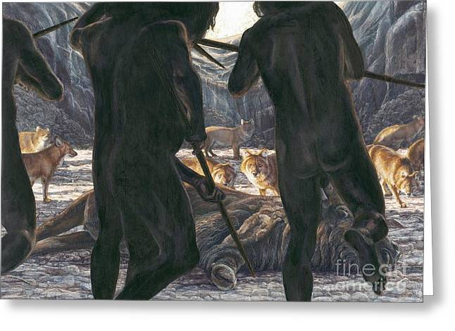 Confronting Greeting Cards - Prehistoric Human-animal Competition Greeting Card by Kennis & Kennis/MSF
