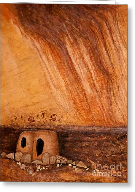 Historic Site Mixed Media Greeting Cards - Prehistoric Rock Art Greeting Card by Janice Rae Pariza