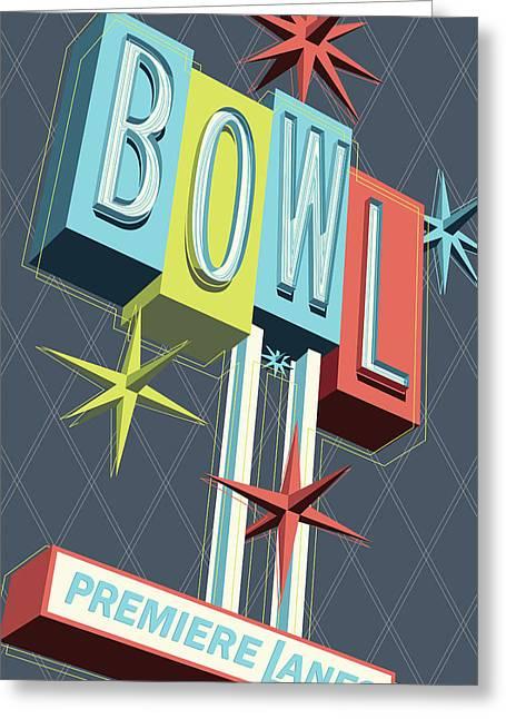 Premiere Lanes Bowling Pop Art Greeting Card by Jim Zahniser