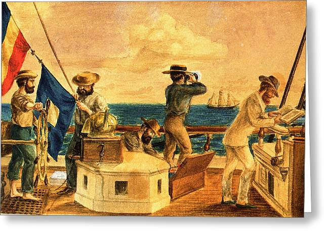 Schooner Greeting Cards - Preparing to Signal 1845 Greeting Card by Unknown
