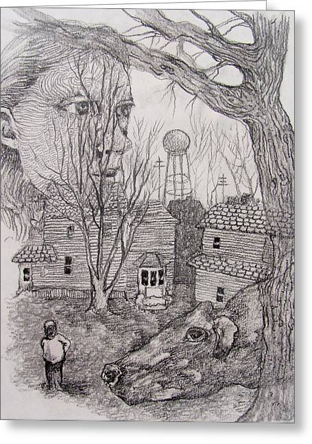 Small Towns Drawings Greeting Cards - Preponderance of Evidence in a Small Town Greeting Card by James Huntley