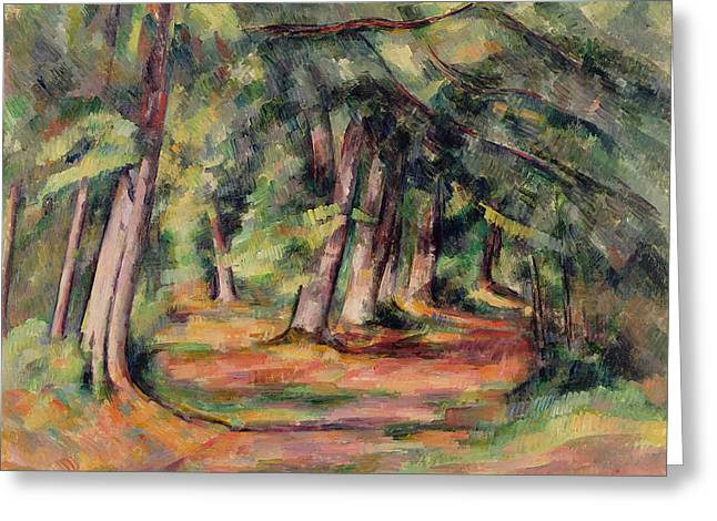 Dappled Light Greeting Cards - Pres du Jas de Bouffan Greeting Card by Paul Cezanne