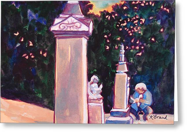Angel Blues Greeting Cards - Present Meets Past Greeting Card by Kathy Braud