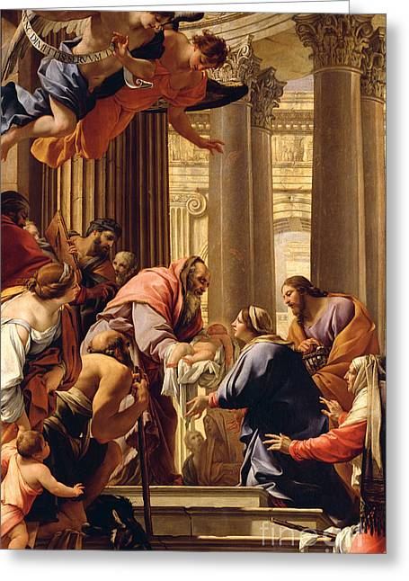 Old Man Greeting Cards - Presentation in the Temple Greeting Card by Simon Vouet