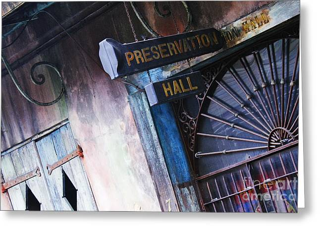 Architectural Detail Greeting Cards - Preservation Hall Sign Greeting Card by Jeremy Woodhouse