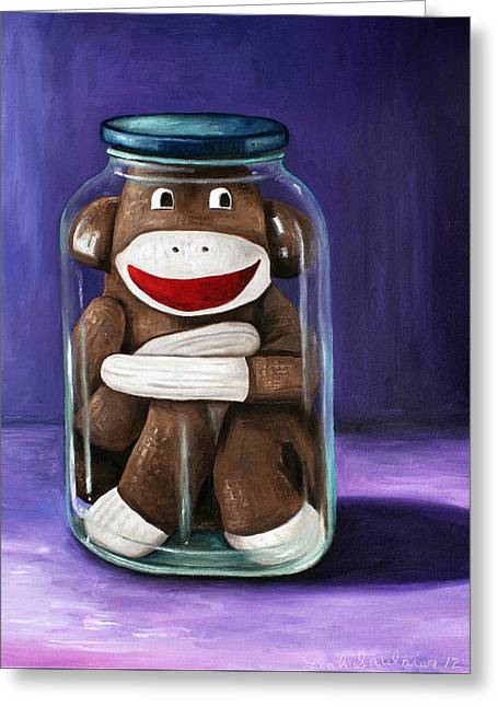 Mason Jars Greeting Cards - Preserving Childhood 3 Greeting Card by Leah Saulnier The Painting Maniac
