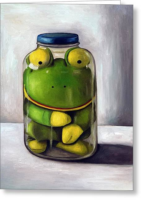 Mason Jars Greeting Cards - Preserving Childhood Greeting Card by Leah Saulnier The Painting Maniac