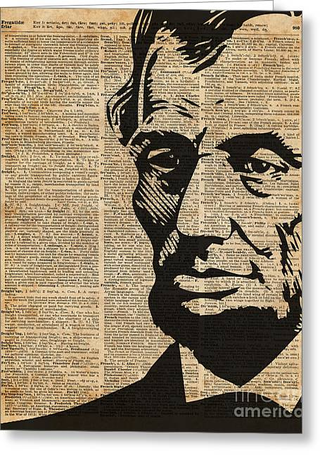 President Abraham Lincoln Historical Vintage Dictionary Art Greeting Card by Jacob Kuch