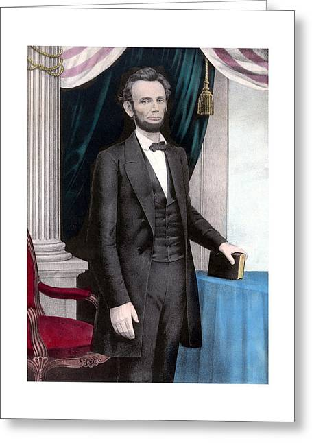 Rail Greeting Cards - President Abraham Lincoln In Color Greeting Card by War Is Hell Store