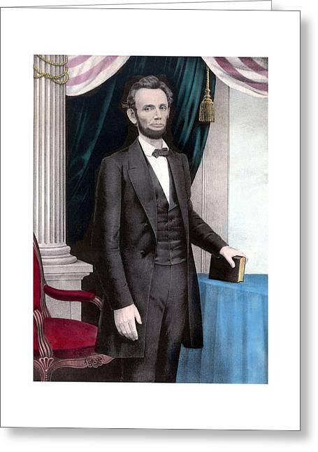 Proclamation Mixed Media Greeting Cards - President Abraham Lincoln In Color Greeting Card by War Is Hell Store