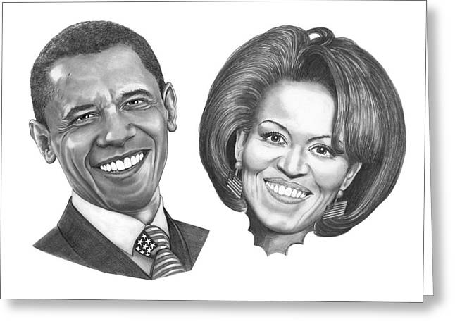 First Lady Drawings Greeting Cards - President and First Lady Obama Greeting Card by Murphy Elliott