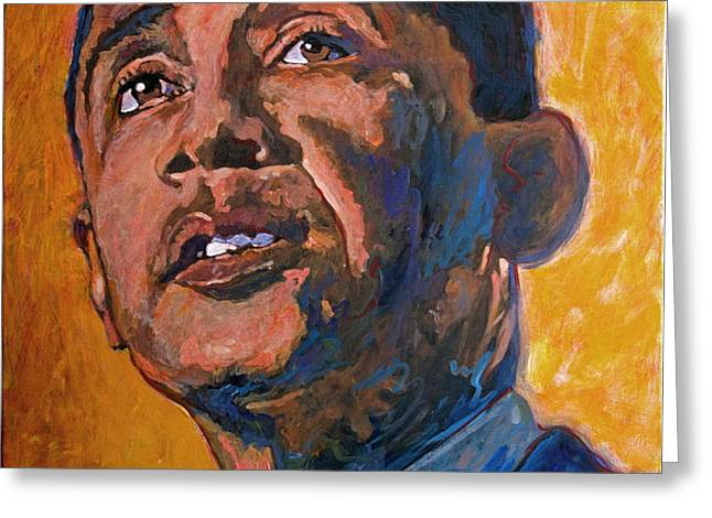 President Barack Obama Greeting Card by David Lloyd Glover