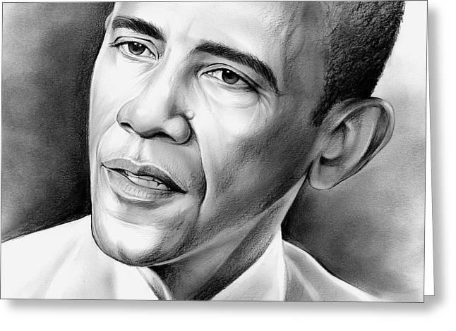 President Barack Obama Greeting Card by Greg Joens