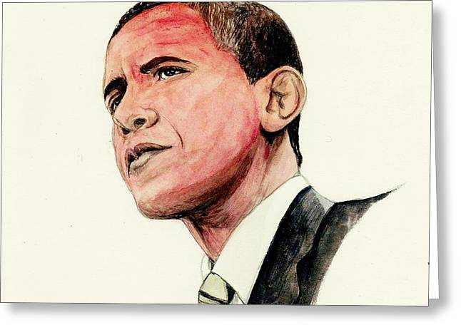 President Barak Obama Greeting Card by Morgan Fitzsimons