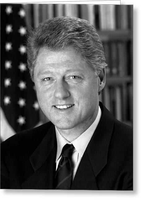 American Politician Photographs Greeting Cards - President Bill Clinton Greeting Card by War Is Hell Store