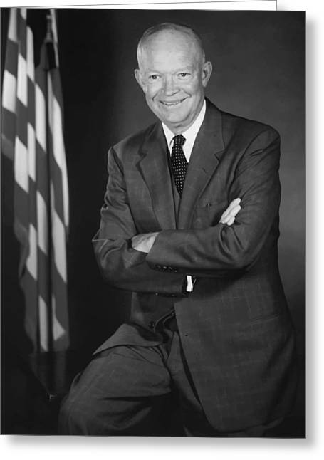 U S Presidents Greeting Cards - President Eisenhower and The U.S. Flag Greeting Card by War Is Hell Store