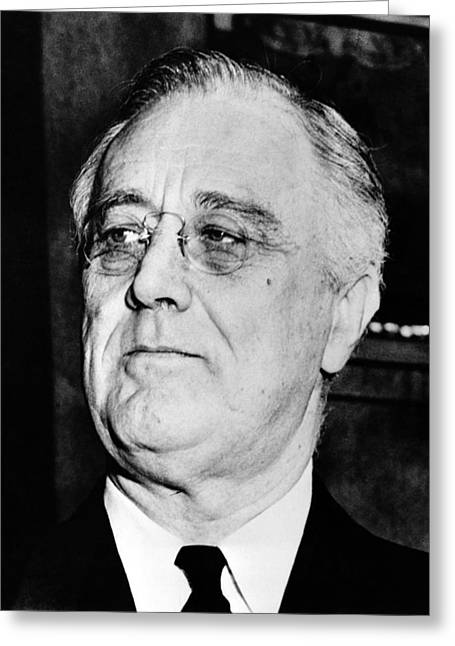 White Photographs Greeting Cards - President Franklin Delano Roosevelt Greeting Card by War Is Hell Store