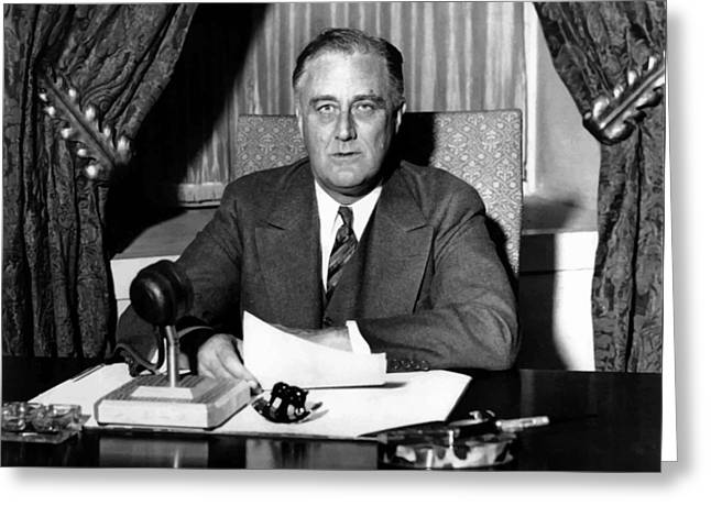 Franklin Roosevelt Greeting Cards - President Franklin Roosevelt Greeting Card by War Is Hell Store
