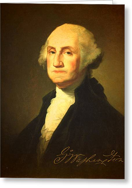 Signature Greeting Cards - President George Washington Portrait and Signature Greeting Card by Design Turnpike