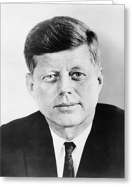 Leader Photographs Greeting Cards - President John F. Kennedy Greeting Card by War Is Hell Store