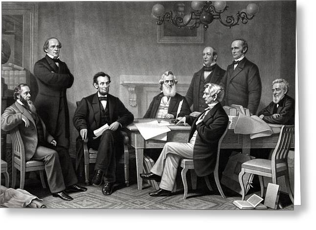 Rails Greeting Cards - President Lincoln and His Cabinet Greeting Card by War Is Hell Store