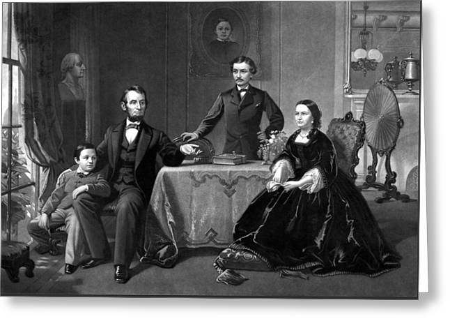 The Rail Splitter Greeting Cards - President Lincoln And His Family  Greeting Card by War Is Hell Store