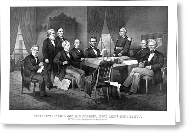 Us History Drawings Greeting Cards - President Lincoln His Cabinet and General Scott Greeting Card by War Is Hell Store