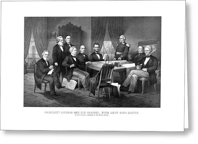 Civil Greeting Cards - President Lincoln His Cabinet and General Scott Greeting Card by War Is Hell Store